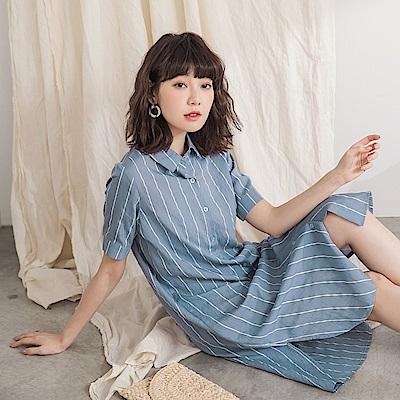 配色直條紋長版襯衫/洋裝/外套-OB嚴選