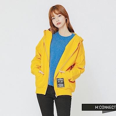 H:CONNECT 韓國品牌 女裝-後印字連帽抽繩外套-黃