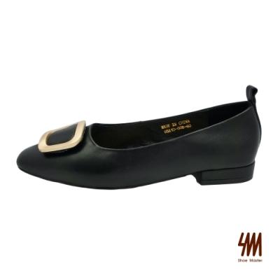 SM-金屬扣環低調OL方頭中跟鞋-黑色 (兩色)