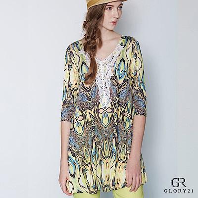 GLORY21 幾何印花長上衣 @ Y!購物