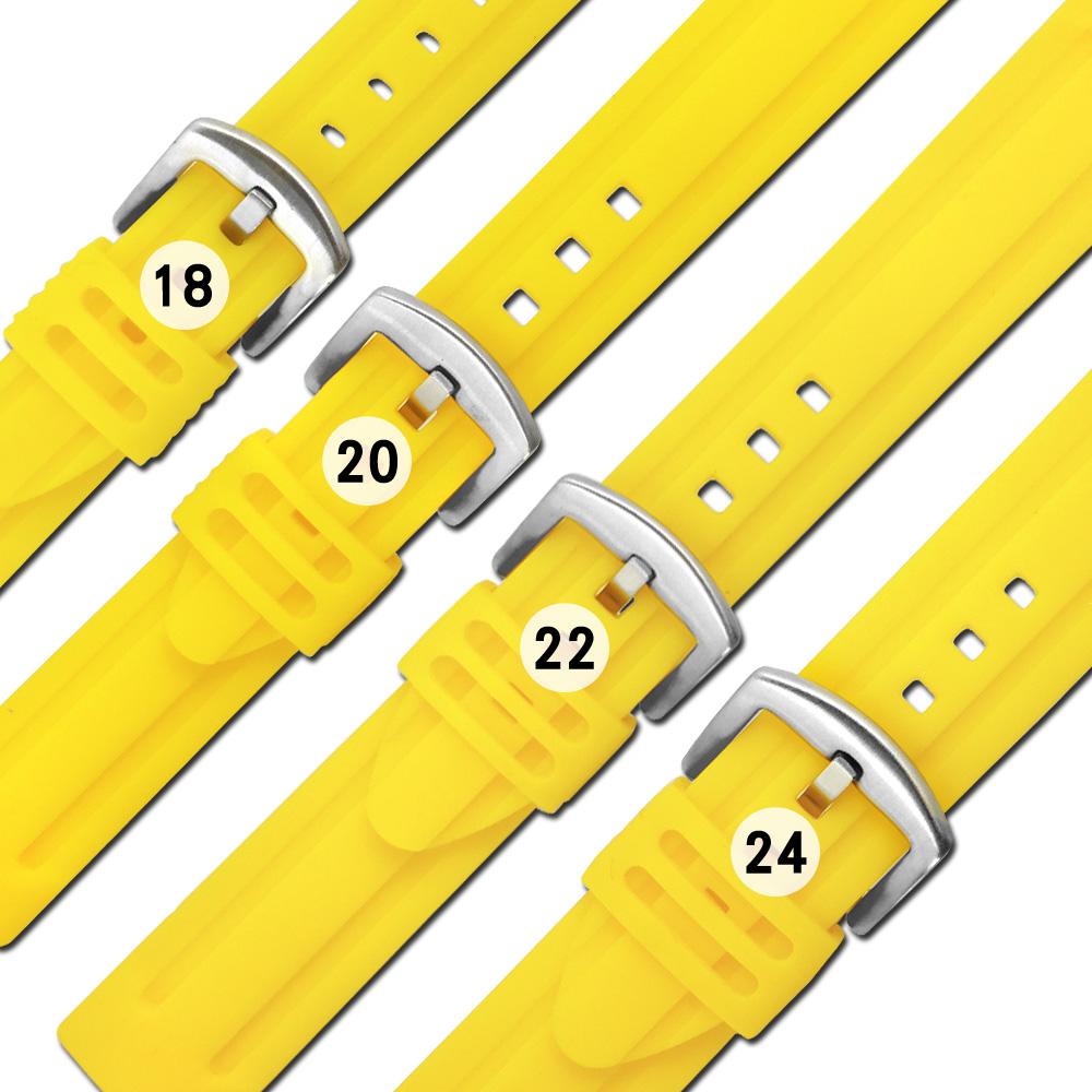 Watchband / 各品牌通用 舒適耐用 輕便 運動型 加厚矽膠錶帶 黃色
