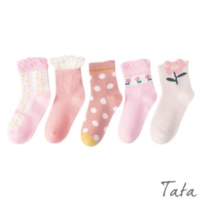 童裝 粉紅小花襪-五入 TATA KIDS