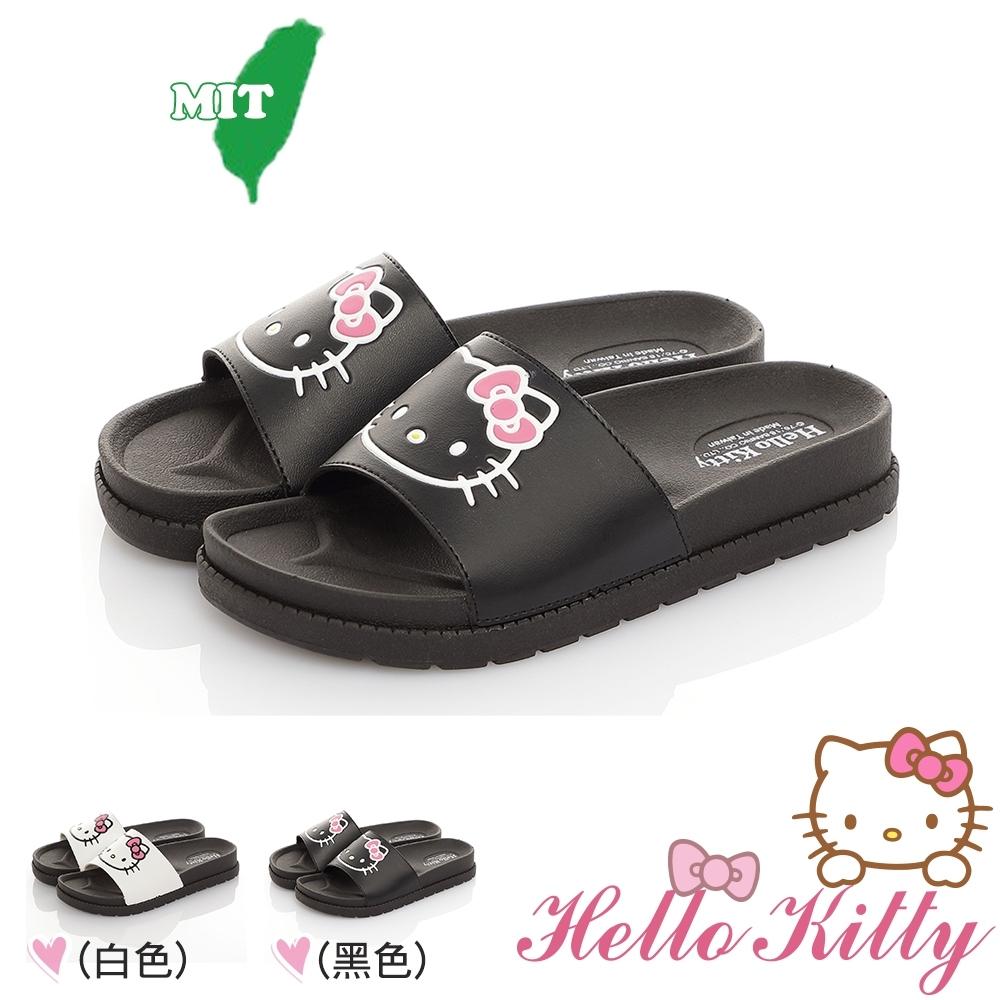 Hello Kitty女鞋 輕量減壓吸震休閒拖鞋-白.黑