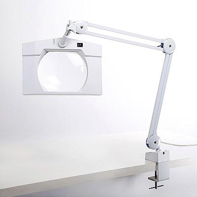 【Hamlet】1.8x/3D 方型大鏡面LED護眼檯燈放大鏡 桌夾式 E065