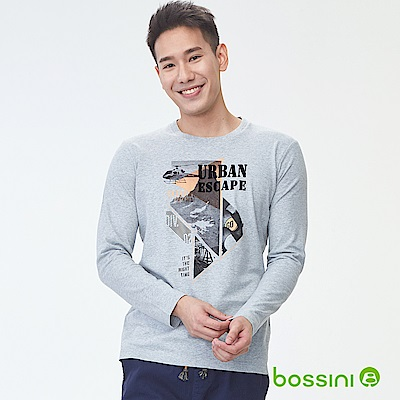 bossini男裝-印花長袖T恤08淺灰