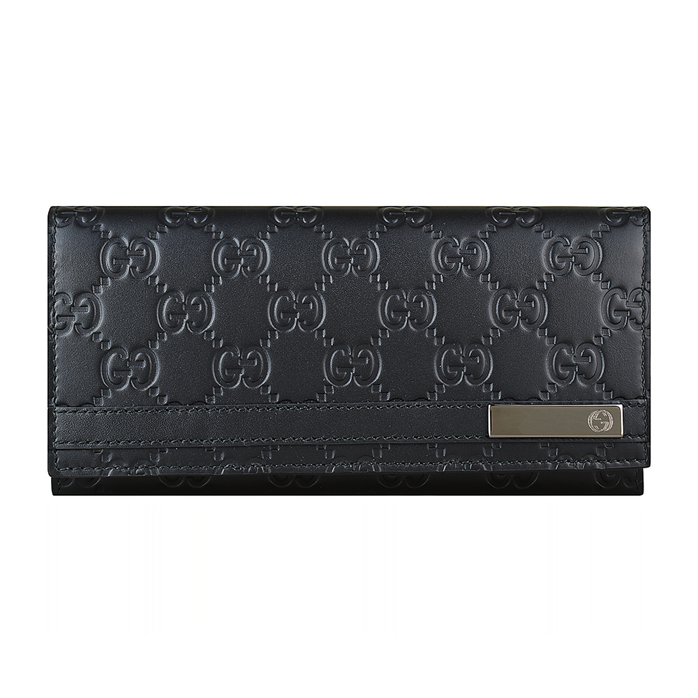 GUCCI SIGNATURE經典雙G壓紋LOGO牛皮6卡扣式長夾(黑)