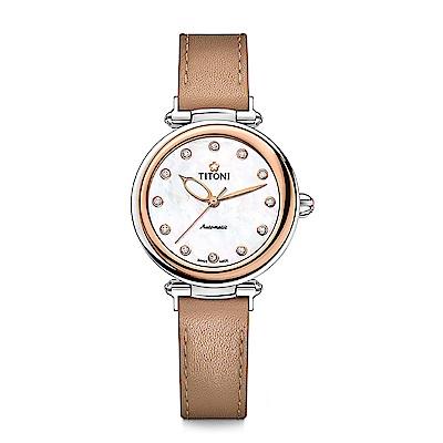 TITONI瑞士梅花錶 炫美時尚快拆系列-玫瑰金/珍珠母貝/焦糖棕皮帶/33.5mm