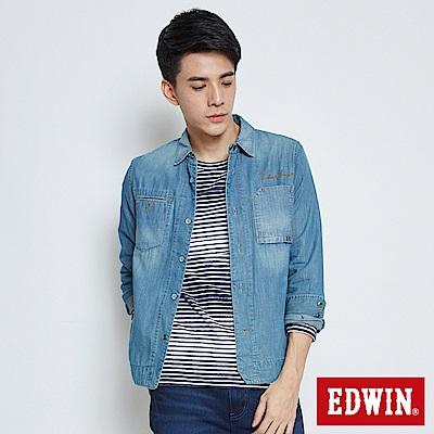 EDWIN 剪接款襯衫牛仔外套-男-漂淺藍