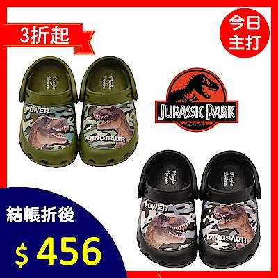 新品任選★侏儸紀公園童鞋 不對稱恐龍涼鞋-203903黑/綠(中大童段)