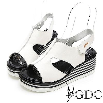 GDC-真皮好穿中空交叉露趾簡約魚口涼鞋-米色