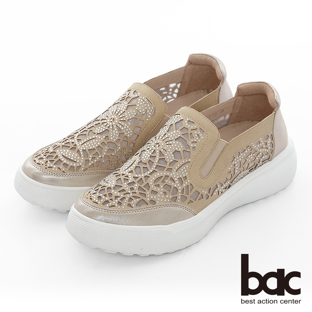 【bac】週末輕旅行 - 網眼鏤空圖騰鑽飾厚底懶人休閒鞋-米色