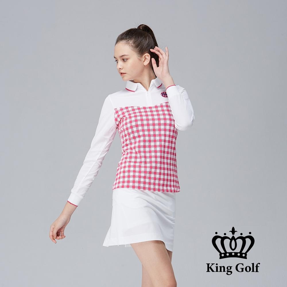 【KING GOLF】格紋拼接立體刺繡羅紋長袖POLO衫-粉色