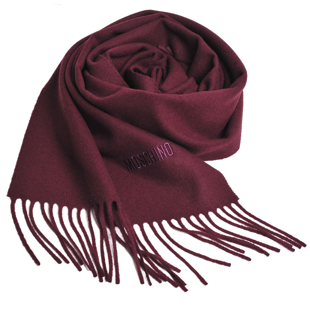 MOSCHINO 義大利製美麗諾羊毛字母LOGO刺繡高質感羊毛圍巾(酒紅)