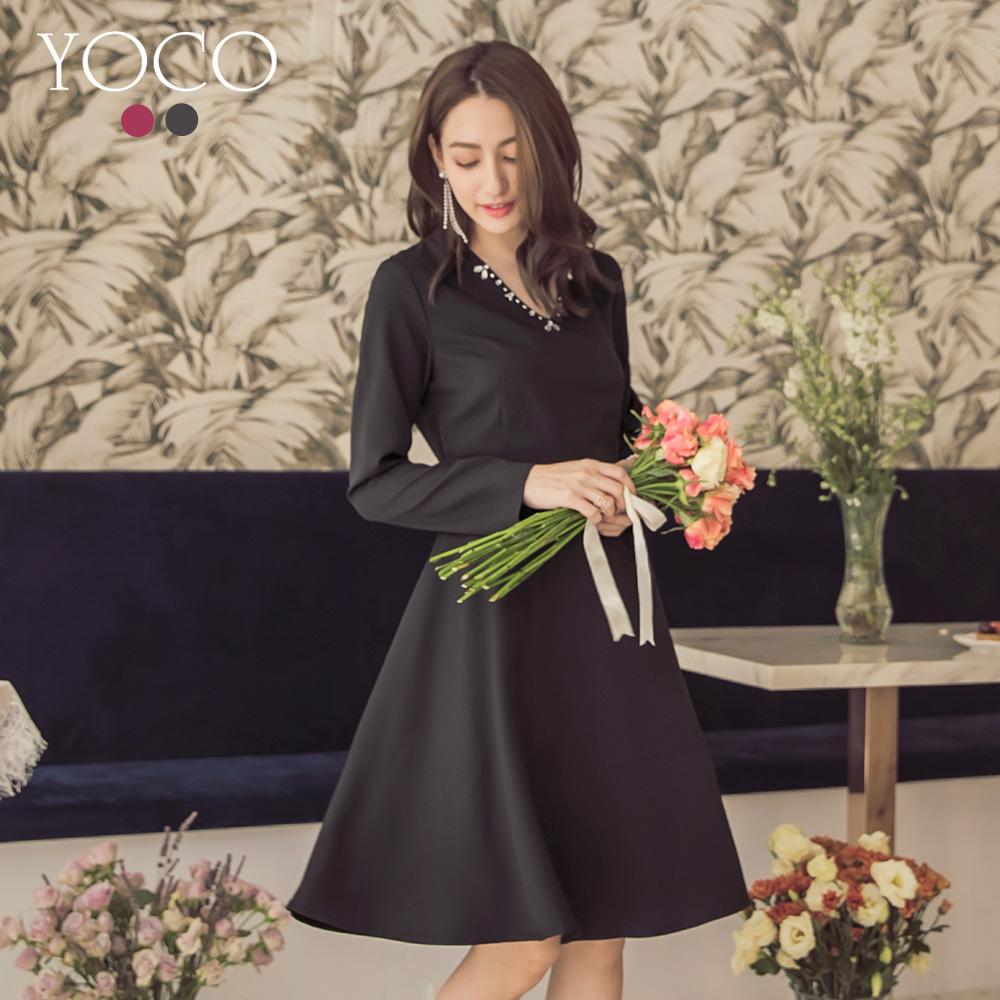 東京著衣-yoco 精緻美顏效果V領修身長袖洋裝-S.M.L(共二色)