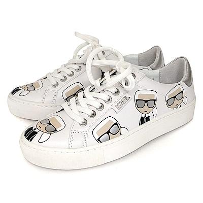 KARL LAGERFELD Q版卡通滿版卡爾圖案綁帶女款休閒鞋 (白色)