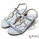 DIANA 羊紋超纖金屬圓環線條楔型低跟涼鞋-夏日風情-灰藍 product thumbnail 1