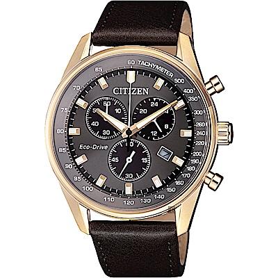 CITIZEN 星辰 限量光動能計時手錶-灰x玫瑰金框/40mm(AT2393-17H)