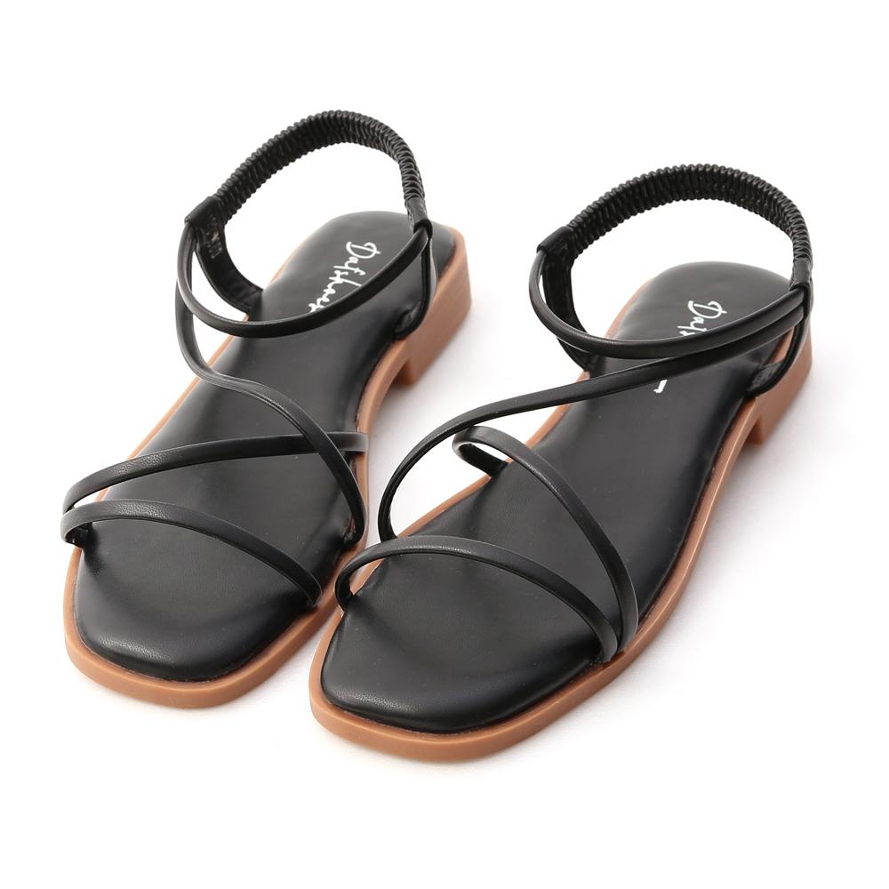 D+AF 夏日漫遊.棉花糖軟墊平底涼鞋*黑