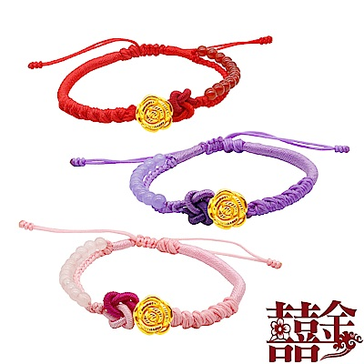 囍金 玫瑰花 999千足黃金轉運造型編繩手鍊(3色可選) @ Y!購物