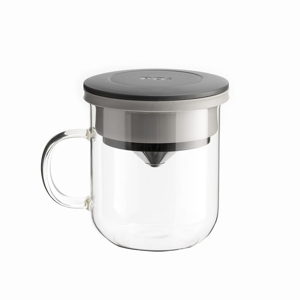 【PO:Selected】丹麥研磨過濾咖啡玻璃杯350ml 2.0 (黑+灰)