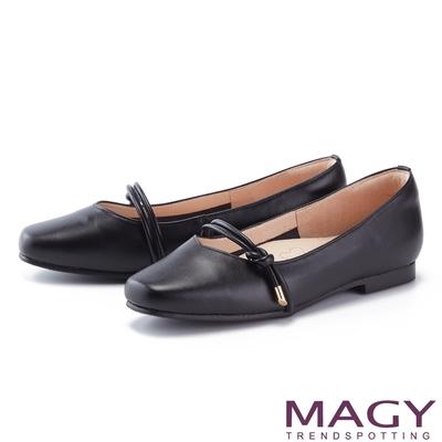 MAGY 造型腳背帶真皮 女 平底鞋 黑色