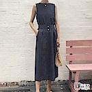 兩件式條紋無袖後開叉上衣+中長裙套裝 藏青-mini嚴選