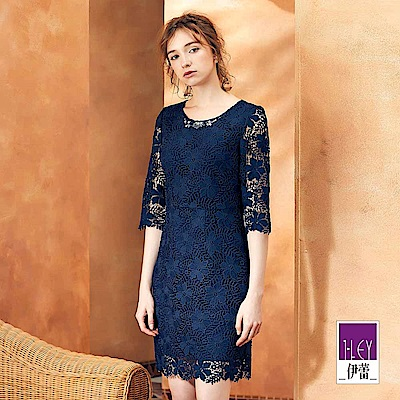 ILEY伊蕾 水溶蕾絲七分袖圓領洋裝(藍)