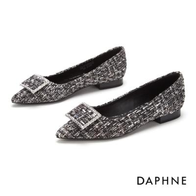 達芙妮DAPHNE 跟鞋-輕奢鑽飾方扣尖頭低跟鞋-格紋灰