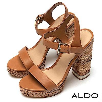 ALDO 真皮鞋面麻花編織釦帶防水台粗跟涼鞋~性感琥珀