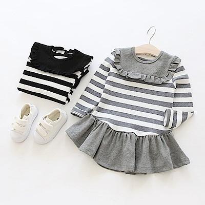 小衣衫童裝   方領花邊條紋長袖連身裙1070301