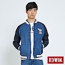 EDWIN 復古經典棒球外套-男-拔洗藍