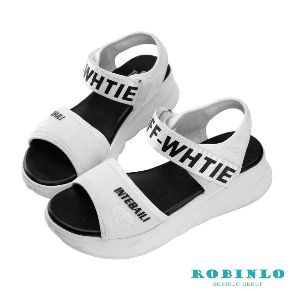 Robinlo 潮流字母高彈力網布涼拖鞋 白色