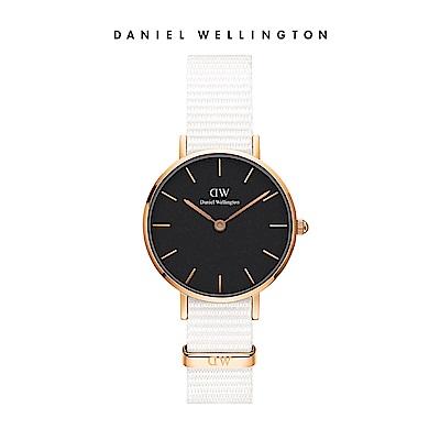 DW 手錶 官方旗艦店 28mm玫瑰金框 Petite 純淨白x黑織紋手錶