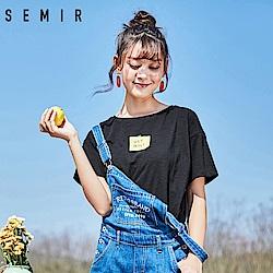 SEMIR森馬-馬卡龍色系趣味小圖造型T恤-女