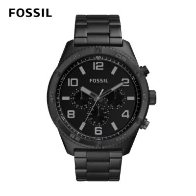 FOSSIL Brox 三眼計時酷炫低調黑男錶 黑色不鏽鋼錶帶 50MM BQ2532