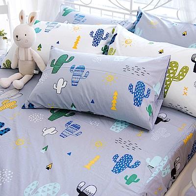 OLIVIA 仙人掌 灰  加大雙人床包美式枕套三件組 200織精梳純棉