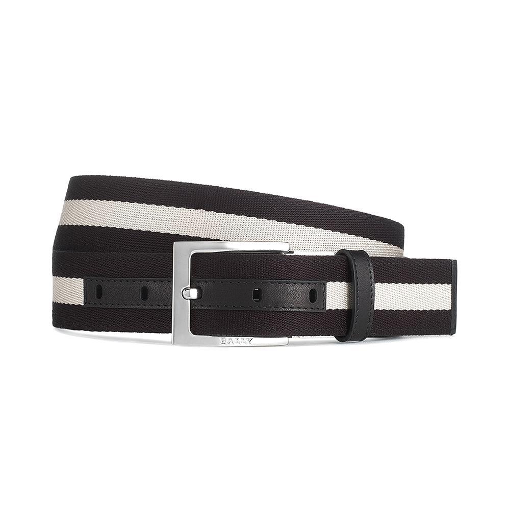 BALLY TONNI 35 黑白織帶雙面用牛皮腰帶