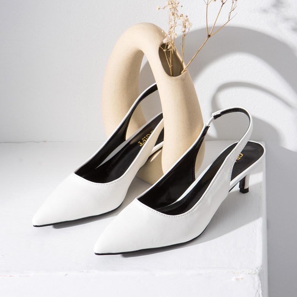 Grace gift-尖頭後空繫帶低跟鞋 白