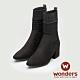 WONDERS-針織麂皮踝靴 (黑) product thumbnail 1