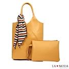 La Moda 時尚模特最愛質感百搭絲巾裝飾多背法肩背手提子母包(黃)