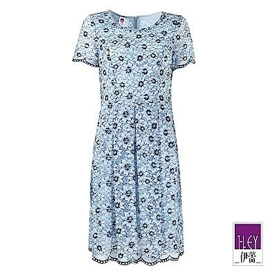 ILEY伊蕾 雙色花朵縷空蕾絲圓領洋裝(藍)