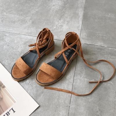 KEITH-WILL時尚鞋館 特惠款羅馬風魚口粗跟涼鞋 棕