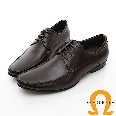 【GEORGE 喬治皮鞋】商務系列 圓頭立體紳士皮鞋-棕色
