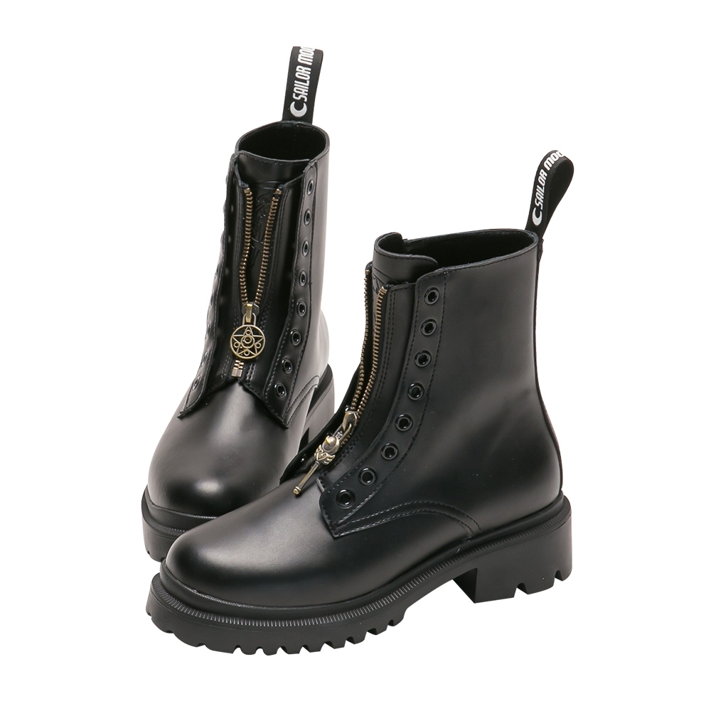 Grace gift-美戰變身器飾釦真皮馬汀靴 黑