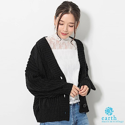 earth music 【SET ITEM】透膚蕾絲上衣+蓬袖麻花辮開襟針織罩衫