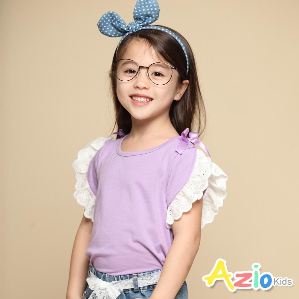 Azio Kids 女童 上衣 肩蝴蝶結蕾絲荷葉短袖上衣(紫)