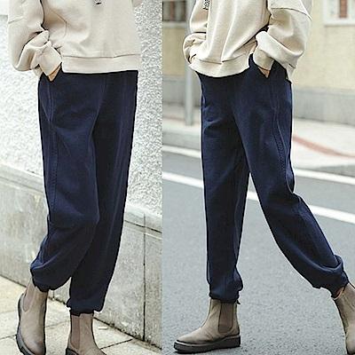 休閒褲-精梳純棉藍色運動褲-設計所在