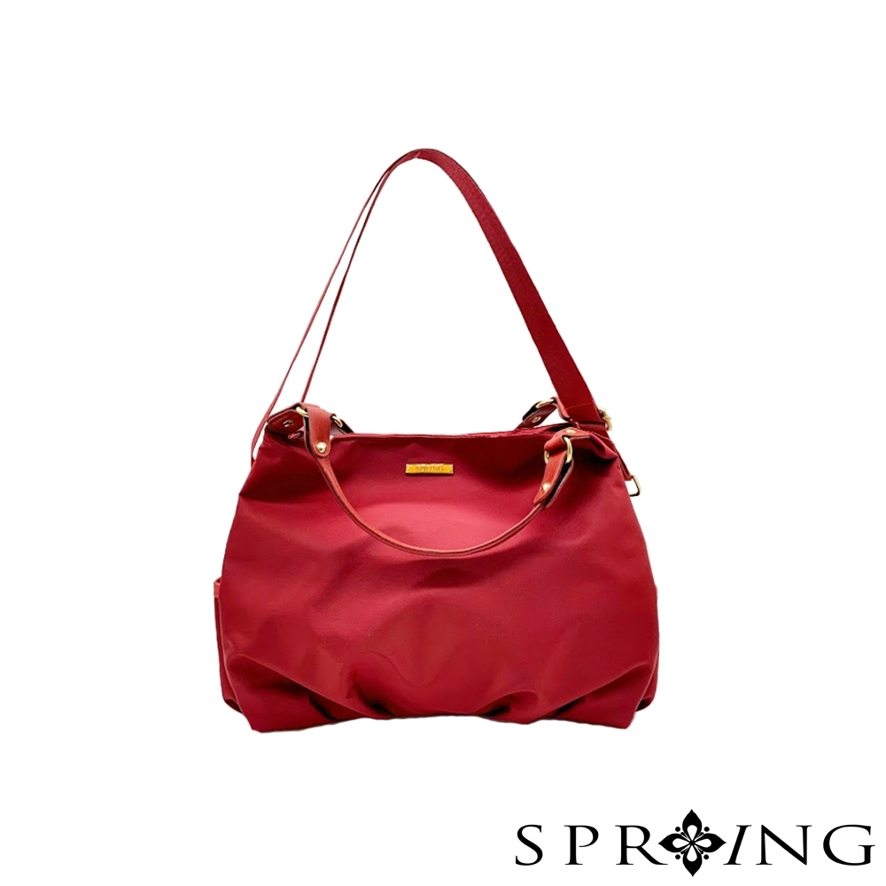 SPRING-簡約低調尼龍手提包-寶石紅