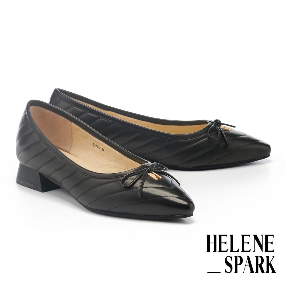 低跟鞋 HELENE SPARK 簡約H字LOGO蝴蝶結全真皮尖頭低跟鞋-黑