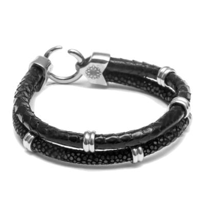 ZENGER 奢華手工雙織皮繩手環-黑